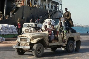 Somali Militiamen in Technical Car Guarding Port